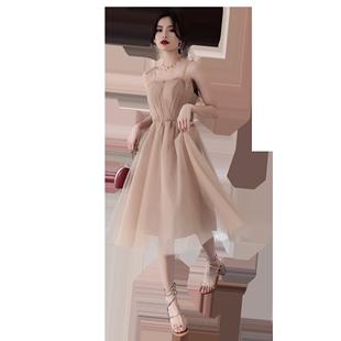 吊帶小晚禮服簡單大方2020新款平時可穿姐妹團伴娘服法式仙女氣質