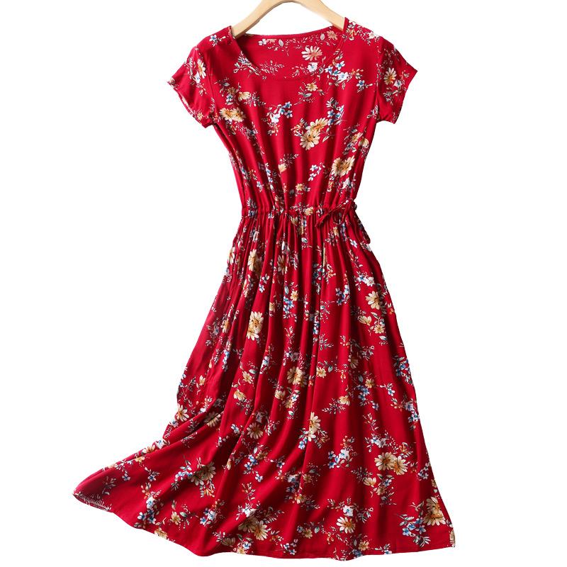 女装夏季棉绸连衣裙碎花过膝中长款人造棉裙子修身显瘦短袖大摆裙