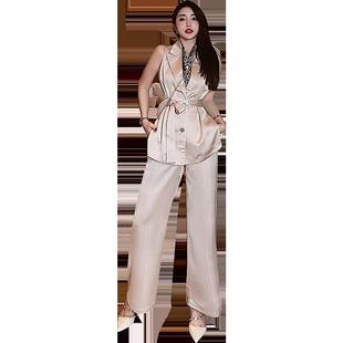闊腿褲套裝女2020新款夏季垂感時尚高級感歐洲站氣質名媛兩件套