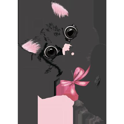 手绘可爱小猫咪门贴儿童房间墙贴