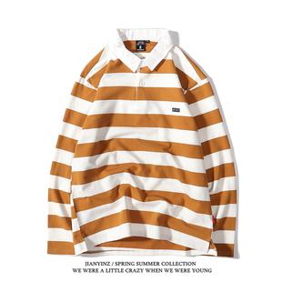 日系大條紋長袖T恤POLO衫復古寬鬆男女情侶款打底衫ins學院風上衣