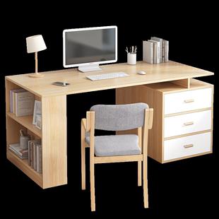 書桌簡約卧室電腦桌北歐伸縮學生學習桌雙人家用帶書架辦公桌組合