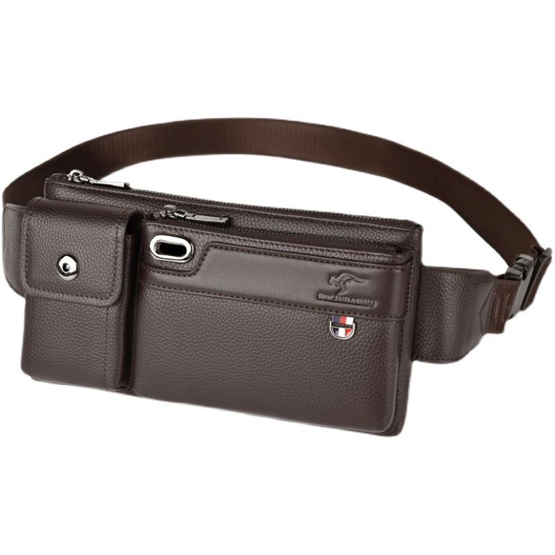 柏林袋鼠真皮男腰包手机包多功能大容量男士胸包头层牛皮斜挎包潮