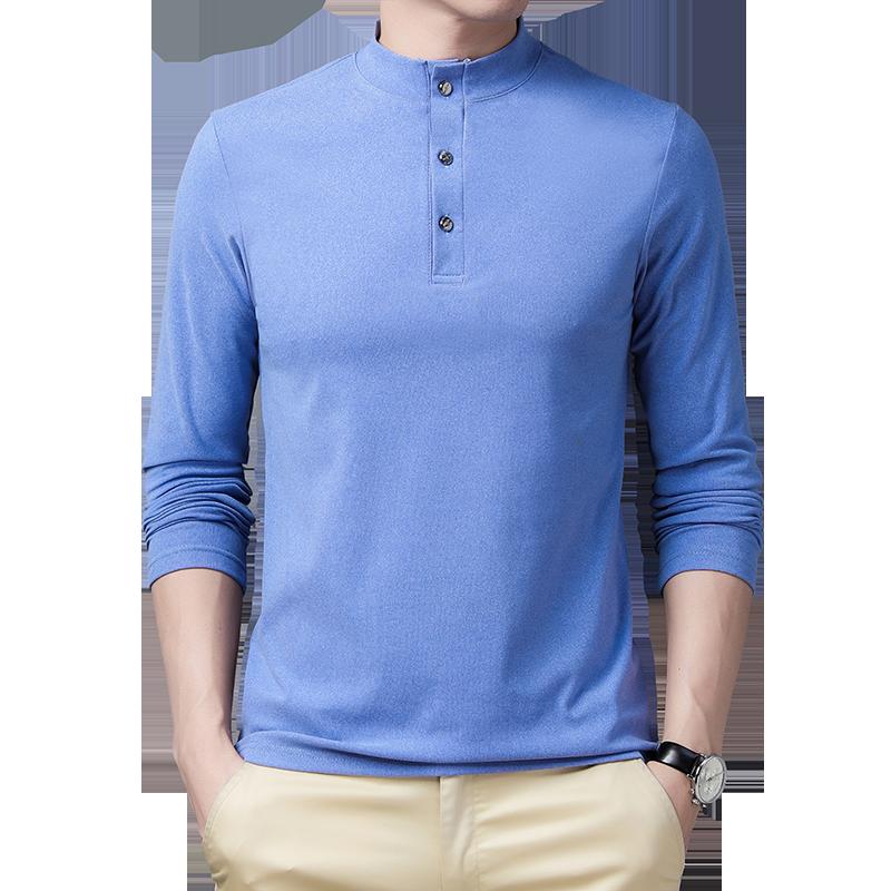 男士长袖T恤立领半高领秋季男装时尚休闲上衣男30-50岁中年爸爸装