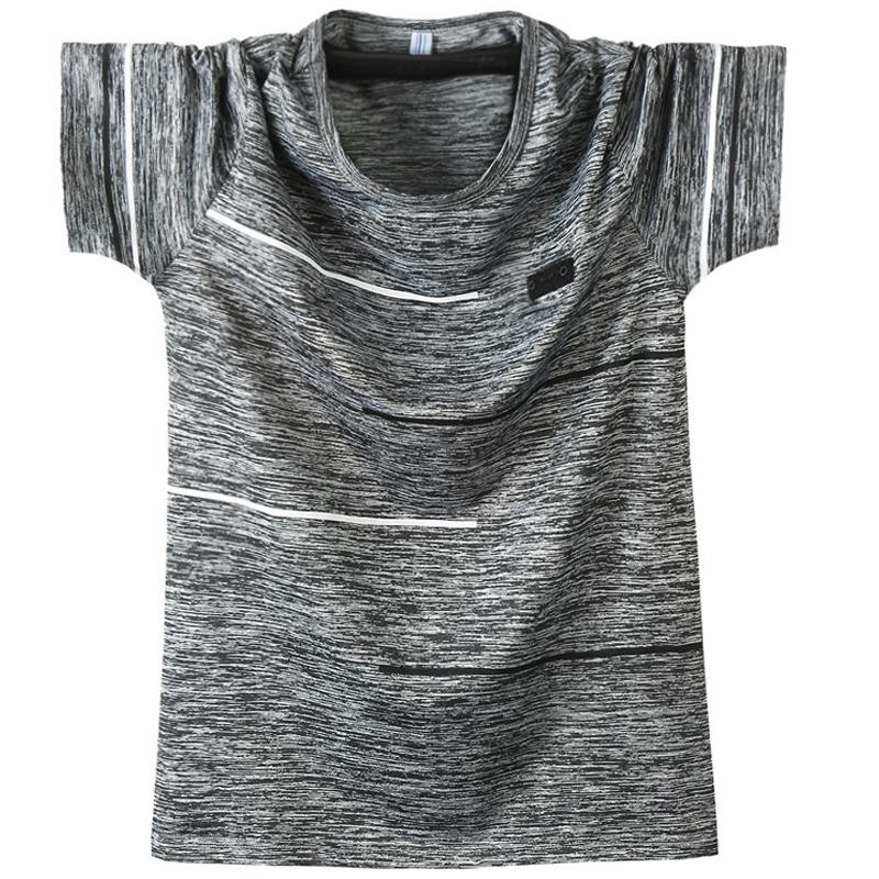 夏季男士冰丝薄款青年短袖T恤 宽松圆领加肥大码速干衣运动半袖男