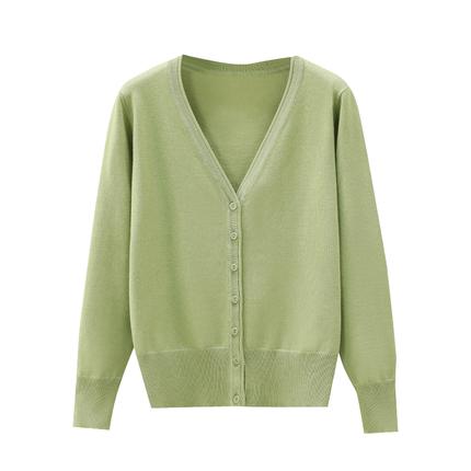 牛油果绿纯色秋季小香风韩范薄毛衣