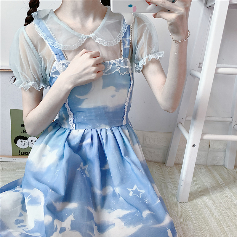 Sweet and lovely summer baby collar bubble sleeve Lolita skirt with Short Sleeve Chiffon Lace shirt blouse