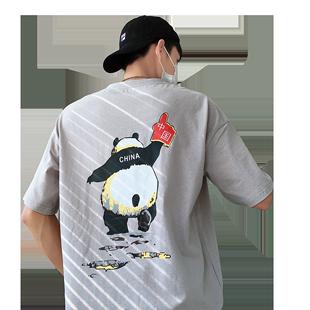 春夏新款短袖T恤男港风