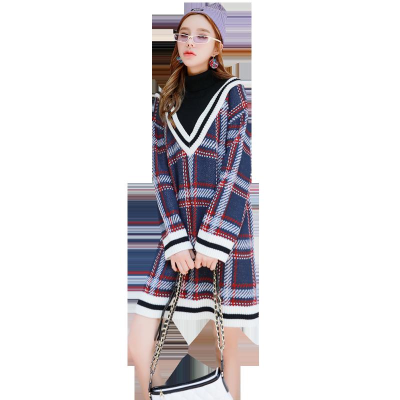 韩都衣舍2020春装格子假两件连衣裙东大门很仙的连身毛衣裙女甜美