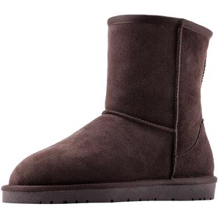 EBV 雪地靴女中筒真皮磨砂保暖防滑加厚加絨麪包鞋子學生棉鞋時尚