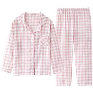 日单工厂合作款!日系格子纯棉睡衣