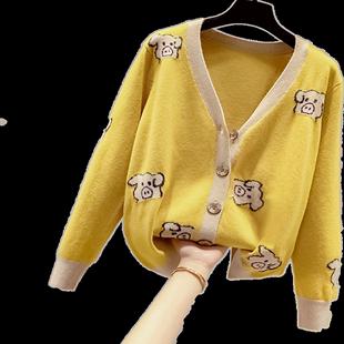 網紅重工針織開衫毛衣外套女裝秋冬裝2020年新款爆款温柔慵懶洋氣