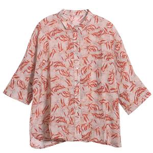 谷家春季新款文艺红色长袖印花衬衫