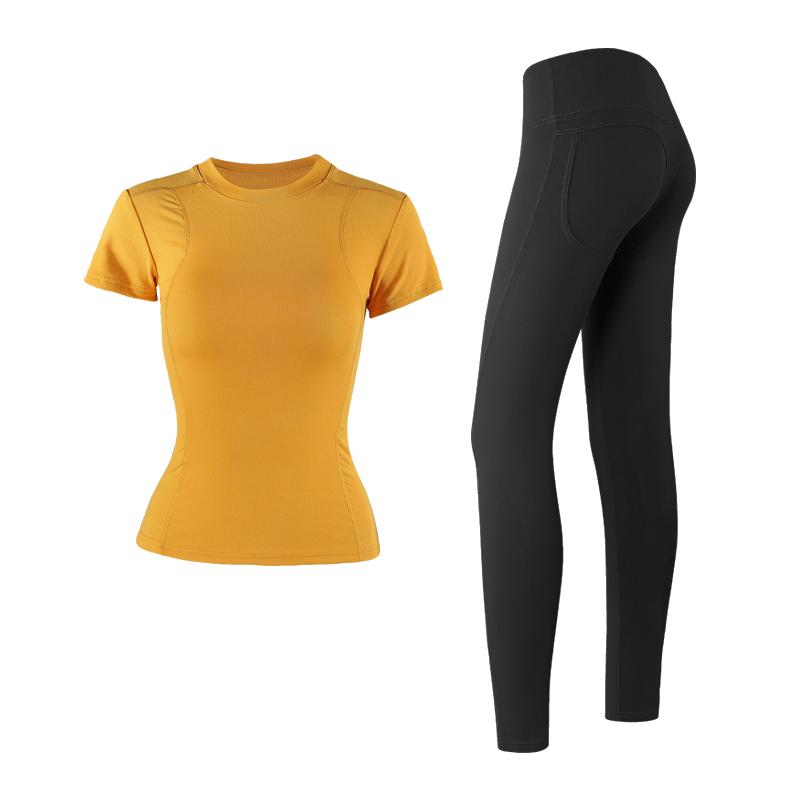 2019秋冬季运动套装女健身房跑步修身T恤速干衣紧身裤网红瑜伽服
