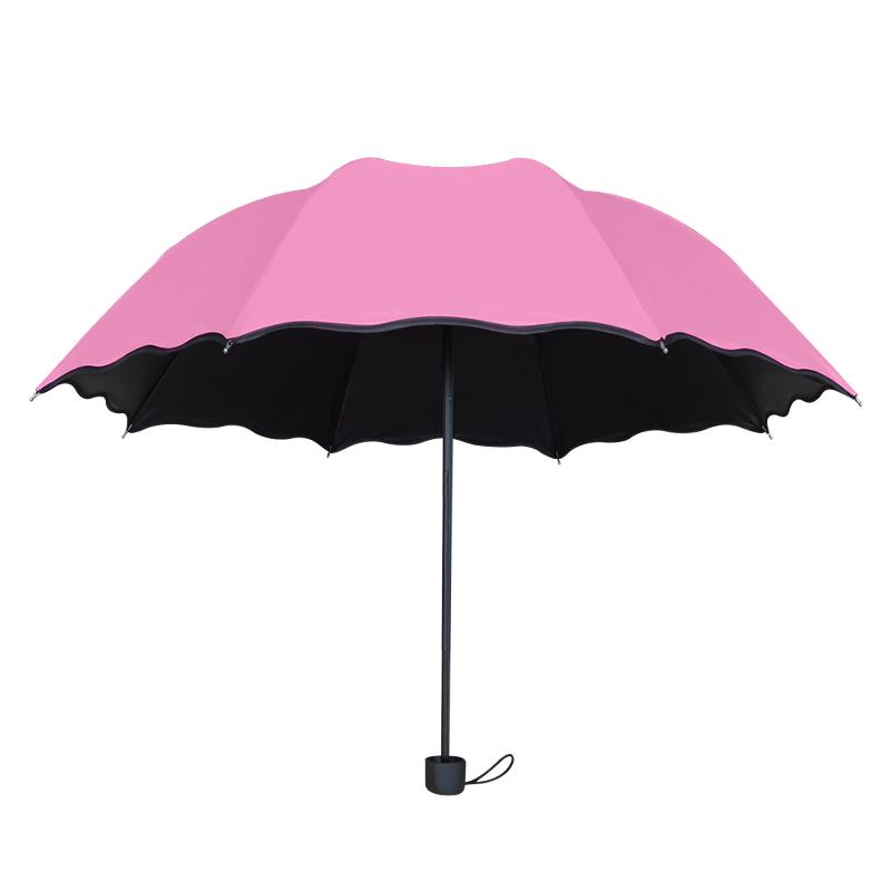 儿童晴雨两用女双人折叠黑胶太阳伞