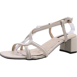 黑色高跟鞋女氣質百搭2020新款夏天時尚一字帶粗跟羅馬涼鞋ins潮