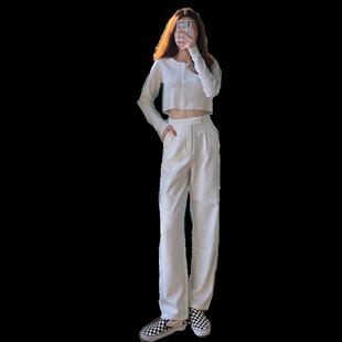 套裝2020年新款女韓版少女針織露臍上衣配拖地闊腿西褲套裝兩件套