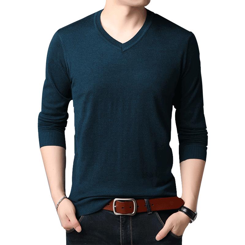 【恒源祥】男士加绒加厚V领针织羊毛衫
