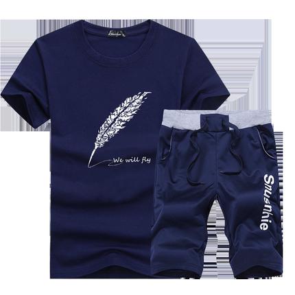 男士短袖夏季套装2019新款青年t恤