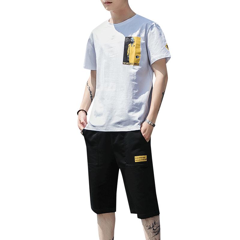 男士短袖t恤一整套装潮牌韩版潮流衣服夏季休闲帅气嘻哈宽松男装