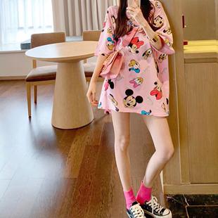 韓國明星款2020夏季米奇短袖女ins中長款T恤寬鬆顯瘦網紅上衣潮t