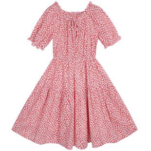 少女連衣裙12歲女孩夏季初中學生長裙收腰顯瘦森系夏裝碎花裙子