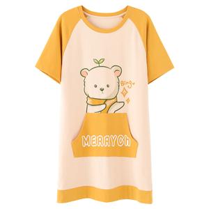 夏季韩版短袖连衣裙子孕妇纯棉睡衣