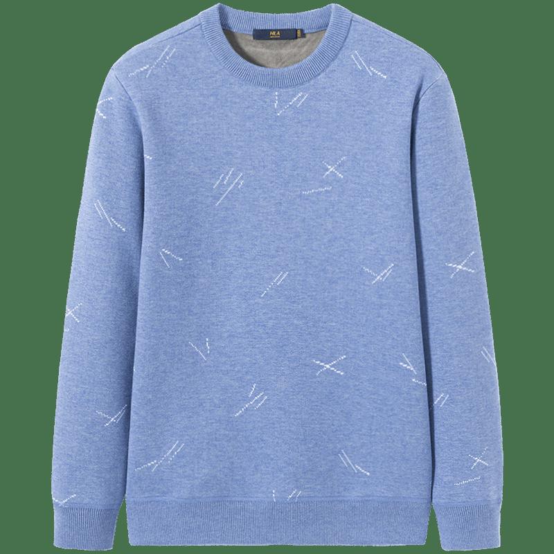 HLA/海澜之家花纹针织衫加绒保暖毛衣