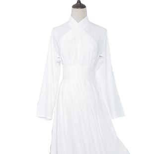 漢尚華蓮搭配棉窄袖中衣漢服女款內睡衣白色現貨配曲裾交領衫裙