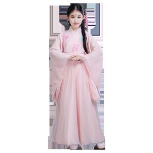 漢服女童12歲中國風仙女飄逸古風兒童襦裙女孩長袖輕紗超仙古裝女