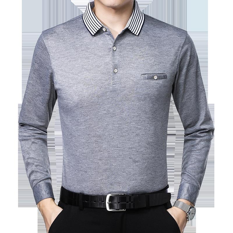 秋季新品纯棉中老年男士体恤衫长袖T恤男