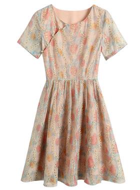 很仙的雪纺连衣裙2021早春新款女装流行气质显瘦荷叶边温柔裙子