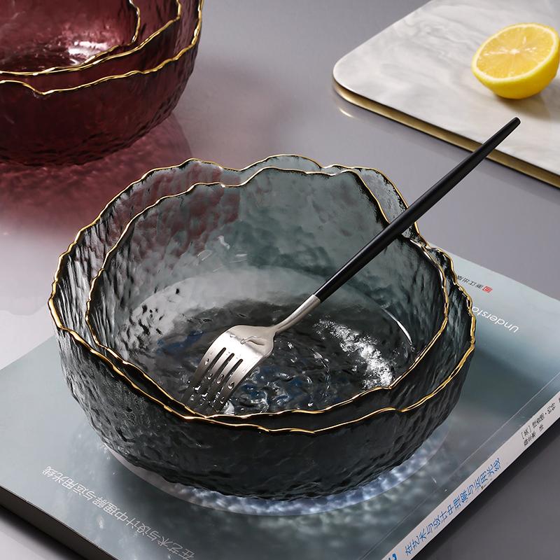 网红ins饭碗玻璃沙拉碗家用透明金边碗碟甜品水果餐具套装碗盘