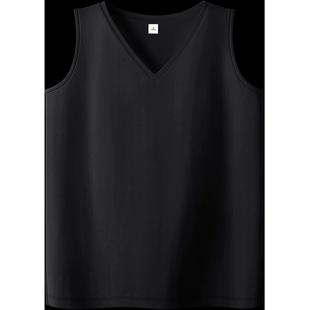 黑色純棉無袖吊帶背心女V領開叉夏季外穿百搭純色寬鬆內搭韓版T恤