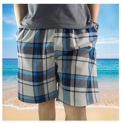 Home Shorts summer mens large size fresh lattice thin pure cotton double layer cotton yarn short Pajama shorts