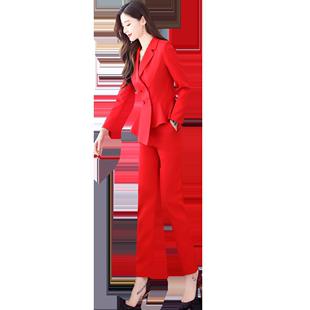 小西裝套裝女秋季時尚2020新款職業ol氣質女神範港風小腳褲兩件套
