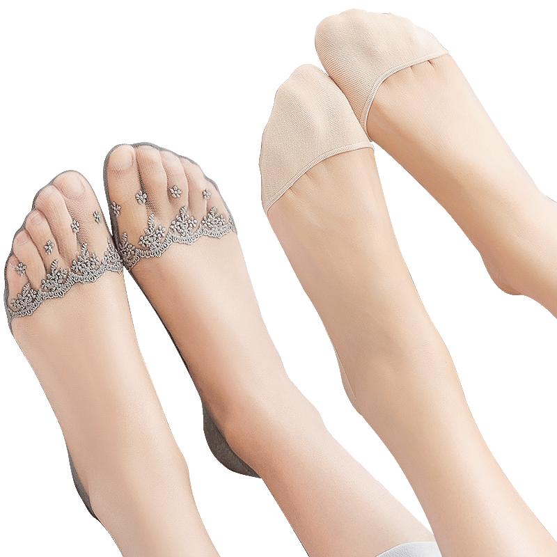 船袜蕾丝袜子女ins潮纯棉底脚袜浅口隐形薄款硅胶防滑短袜套秋冬