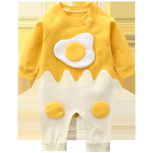嬰兒連體衣服春秋冬套4個月新生外出6潮寶寶哈衣男女網紅可愛秋裝