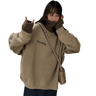 加絨高領內搭打底衫女秋冬衣服2018新款韓版寬鬆港風大碼t恤長袖