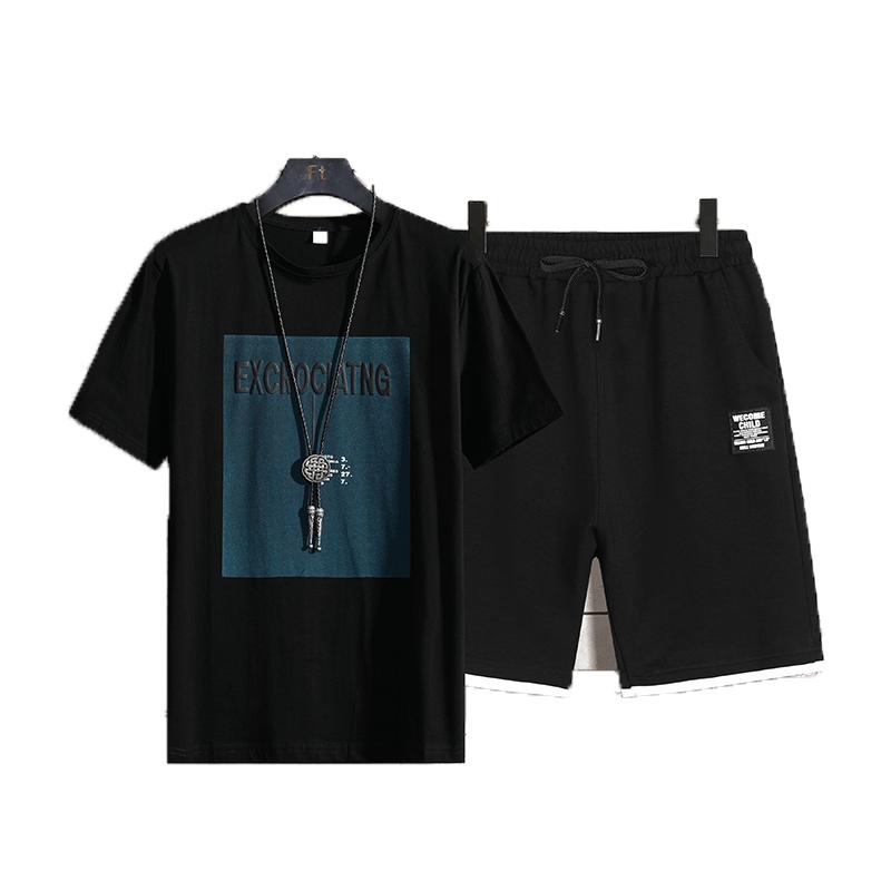 短袖T恤休闲港风五分袖韩版半袖棉套装男