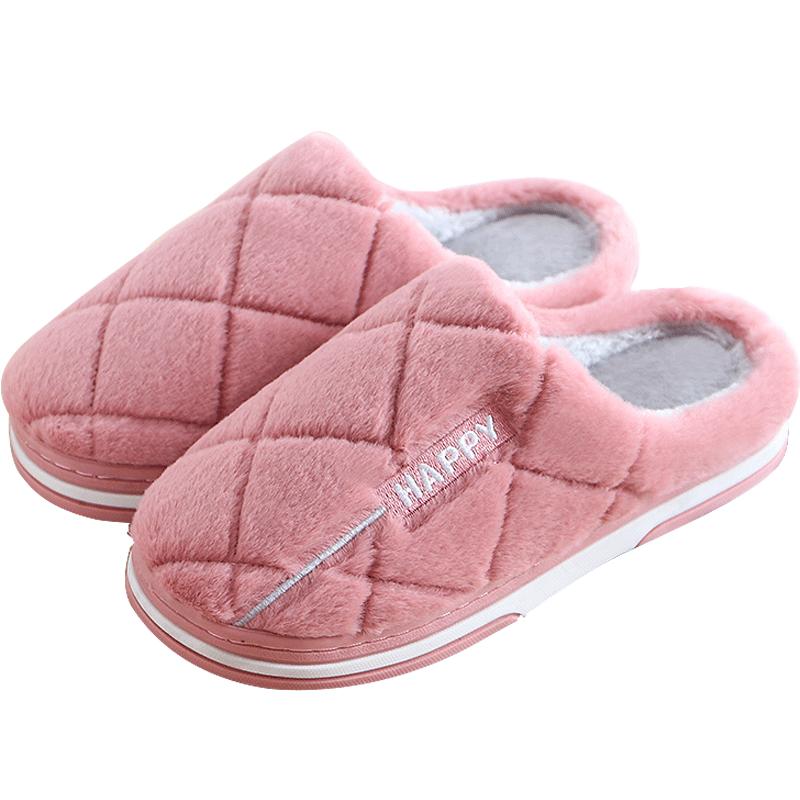 火轮情侣棉拖鞋女冬季家居室内保暖防滑毛绒厚底家用月子半包跟男
