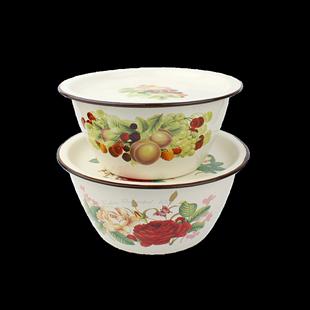 加厚搪瓷平蓋盆搪瓷盆帶蓋加深盆老式搪瓷豬油盆餃子餡料盆蓋碗盆