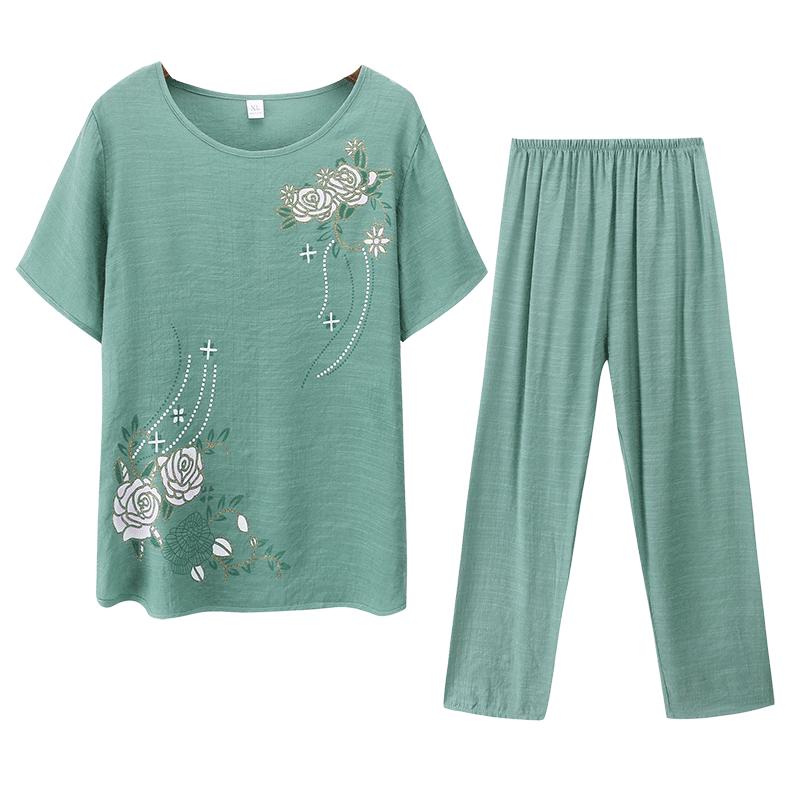 中年女裝夏裝棉麻中老年人夏季洋氣短袖上衣2019新款媽媽兩件套裝