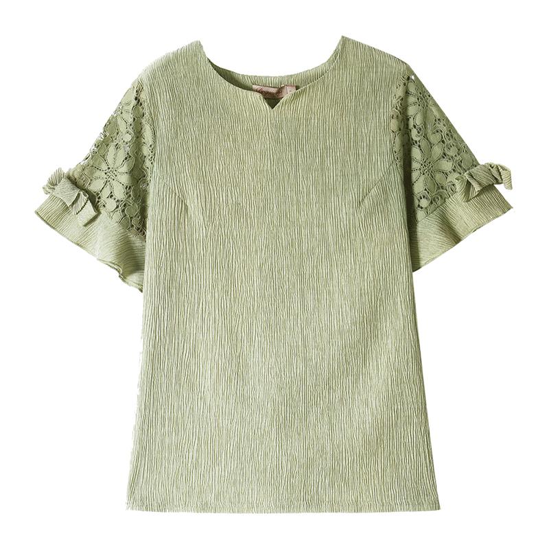 妈妈装洋气夏装2019新款中老年女装上衣服中年妇女短袖T恤WD7373