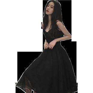 赫本小黑裙中長裙冷淡風復古吊帶裙子顯瘦性感連衣裙女夏2020新款
