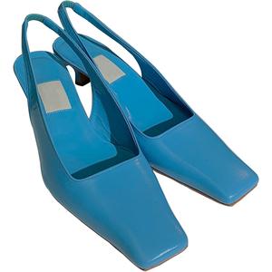mona同款2020新款复古蓝色小女单鞋