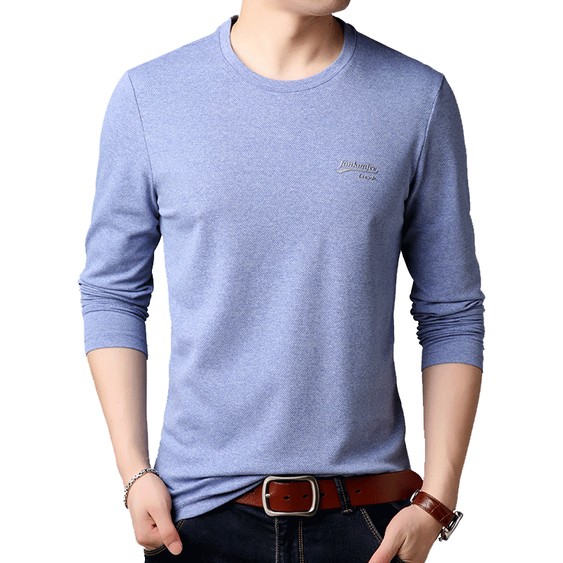 新款韩版青年男士秋季长袖T恤潮上衣