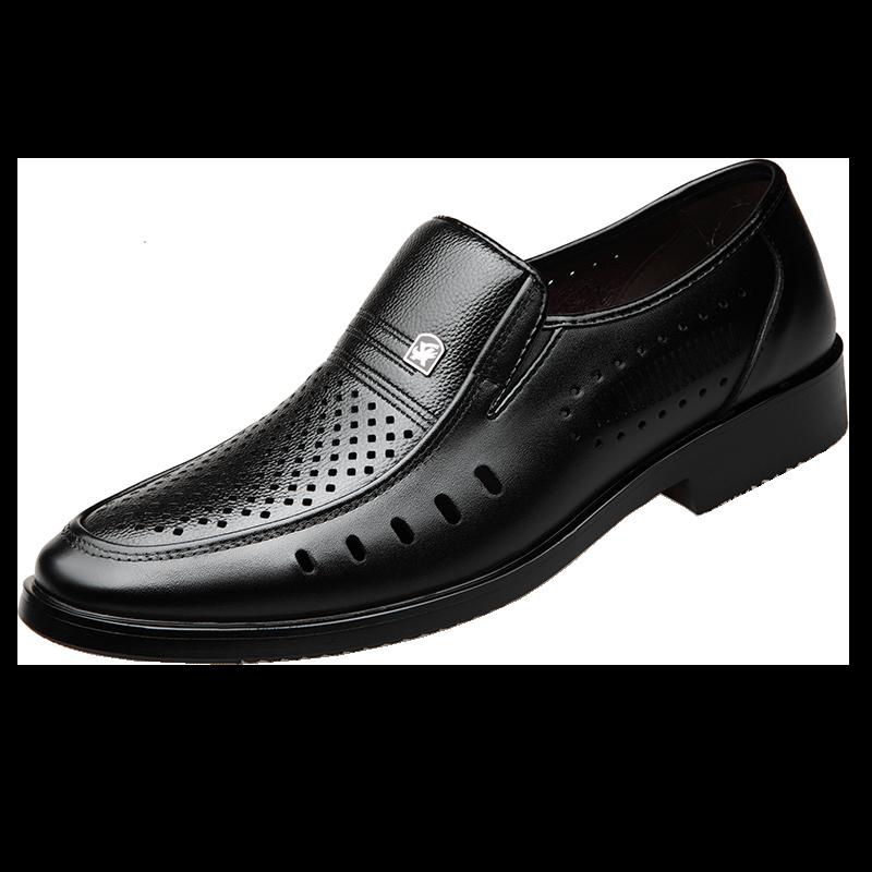 皮鞋男镂空凉鞋款夏季透气真皮软底中老年男式休闲防臭男士爸爸鞋