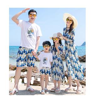 2020夏季新款親子裝一家三口海邊度假沙灘裙母女裝洋氣雪紡連衣裙