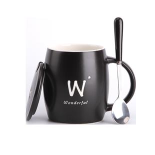 姓氏杯子創意個性潮流字母陶瓷杯帶蓋勺馬克杯定製簡約家用喝水杯